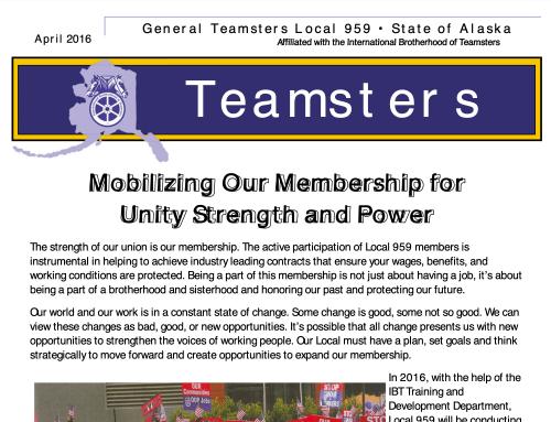 Teamsters 959 Newsletter April 2016