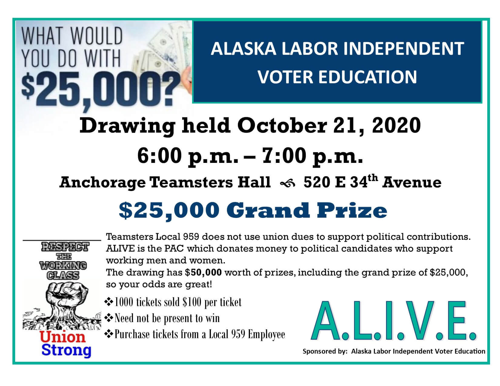 ALIVE Fall Drawing $25, 000